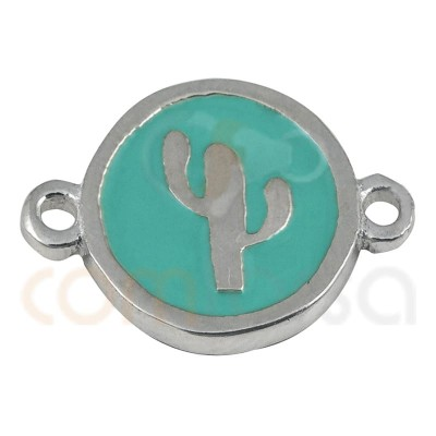 Cactus connector with enamel 10mm sterling silver 925