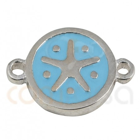 Starfish connector with enamel 10mm sterling silver 925