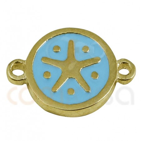 Starfish Connector With Enamel 10mm Sterling Silver gold plated