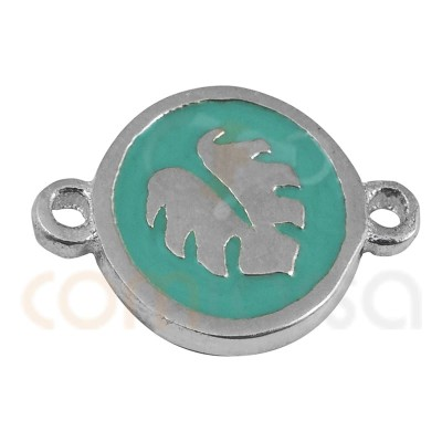 Monstera Leaf Connector With Enamel 10mm Sterling Silver gold plated