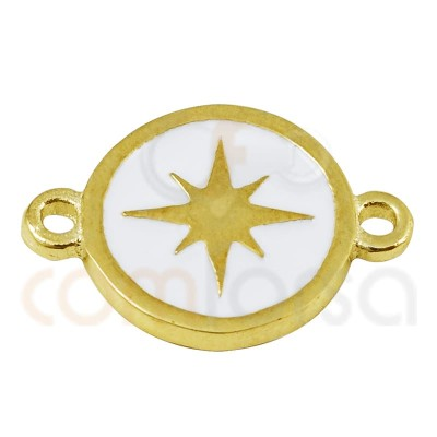 Polar star connector with enamel 10mm sterling silver 925