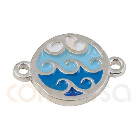 Waves connector with enamel 10mm sterling silver 925