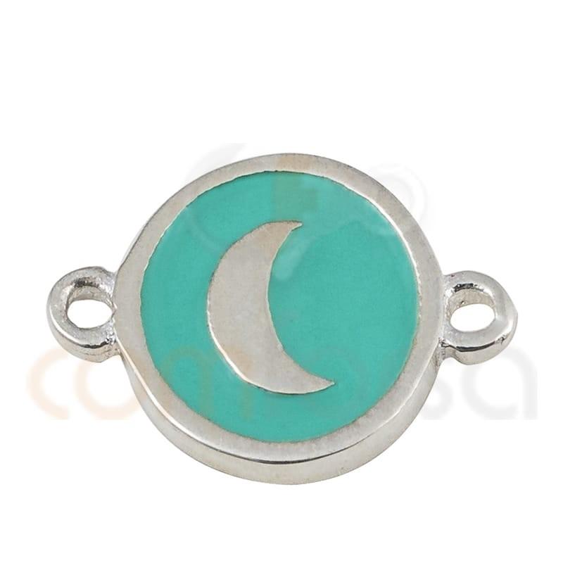 entrepieza redonda luna con esmalte 10mm plata 925