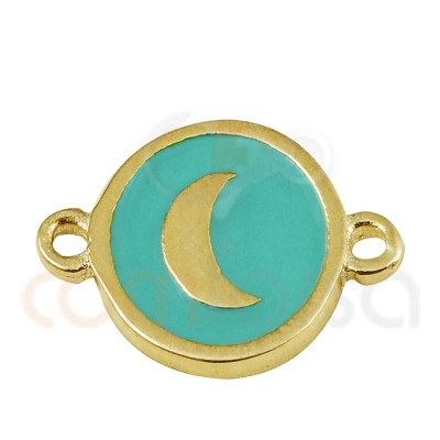 Moon connector with enamel 10mm sterling silver gold plated