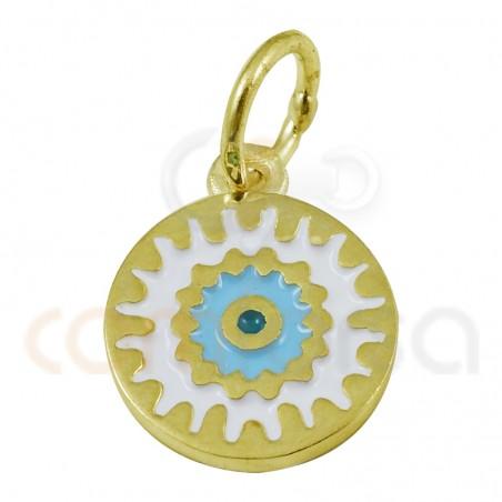 Mandala Pendant With Enamel Blue 10 Mm Sterling 925