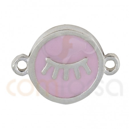 Eyeslashes connector with enamel 10mm sterling silver 925