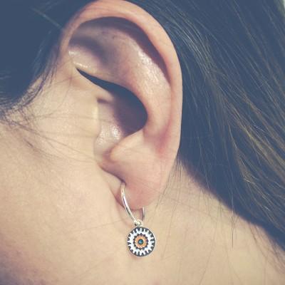 Sterling silver 925 Hoop earrings tube with ball 15 mm