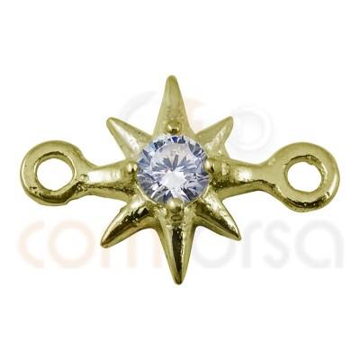 Entrepieza estrella polar circonita 7.5 mm plata 925 chapada en oro