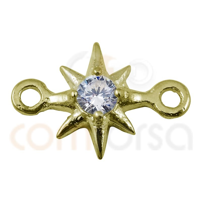 Star polar pendant zirconia 7.5mm sterling silver gold plated