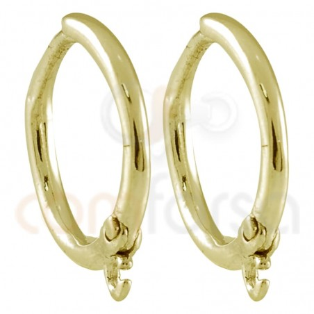 Sterling silver 925 gold-plated hoop earring with ring 12 mm