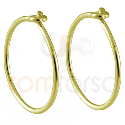 Sterling silver 925 gold-plated thread hoop earring 12mm