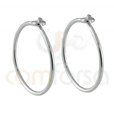 Sterling silver 925 gold-plated thread hoop earring 15 mm