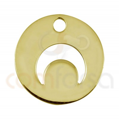 Sterling silver 925 gold-plated horn cut-out pendant 12mm
