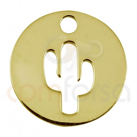 Sterling silver 925 cactus cut-out pendant 12mm