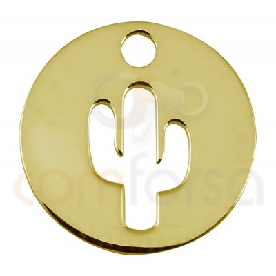 Sterling silver 925 gold-plated cactus cut-out pendant 12mm