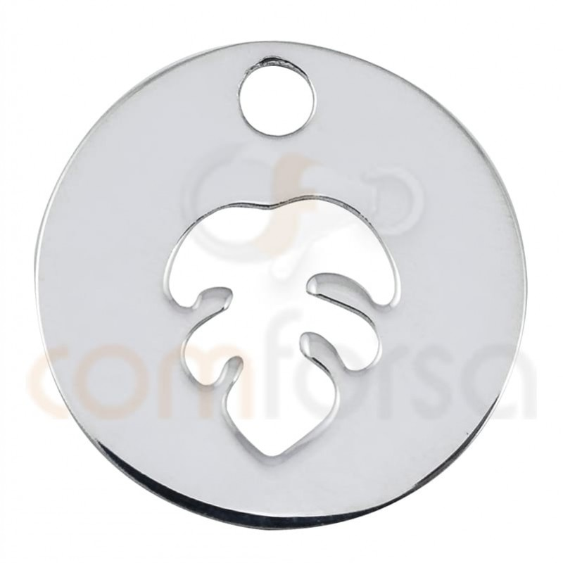 Sterling silver 925 monstera leaf cut-out pendant 12mm
