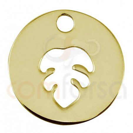 Sterling silver 925 gold-plated monstera leaf cut-out pendant 12mm