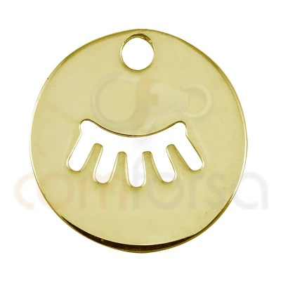 Sterling silver 925 gold-plated eyeslashes cut-out pendant 12mm