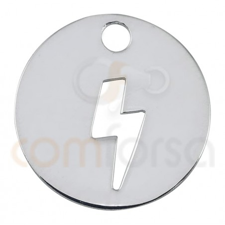 Sterling silver 925 gold-plated lightning cut-out pendant 12mm