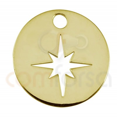 Sterling silver 925 polar star cut-out pendant 12mm