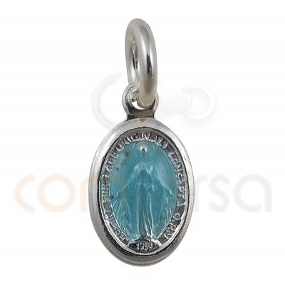 Sterling silver 925 Miraculous medal with Virgin 6 x 10 mm light blue enamel
