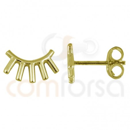 Eyeslashes earring 10 x 5 mm sterling silver gold plated