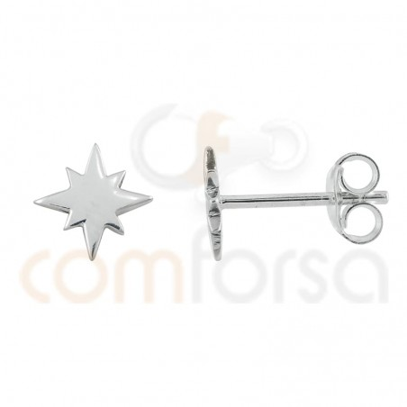 Polar star earring 7 mm sterling silver gold plated