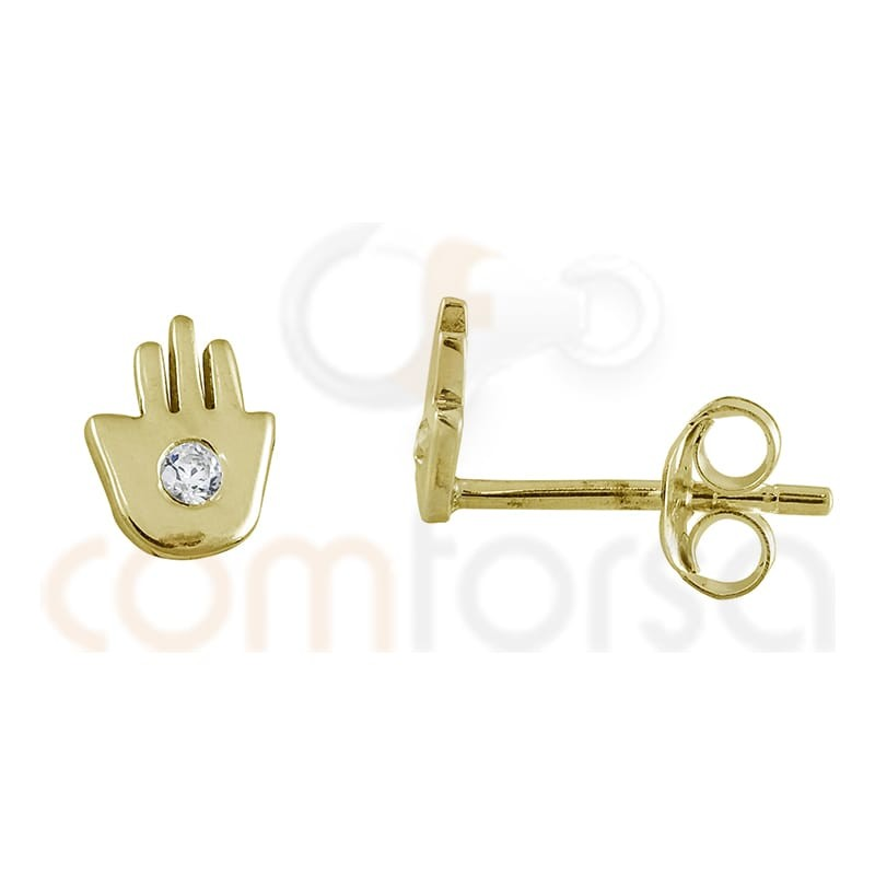 Sterling silver 925 gold-plated Fatima hand earring zirconia 6 x 4.5 mm