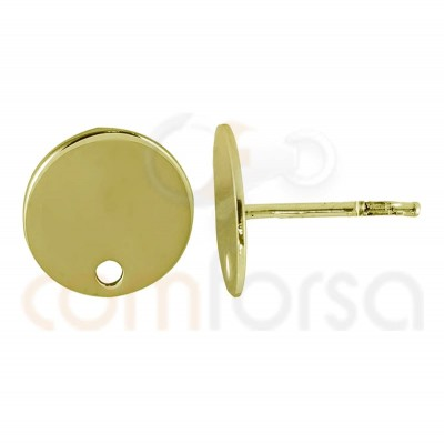 Sterling silver 925 gold-plated circle earring 10 mm with drill
