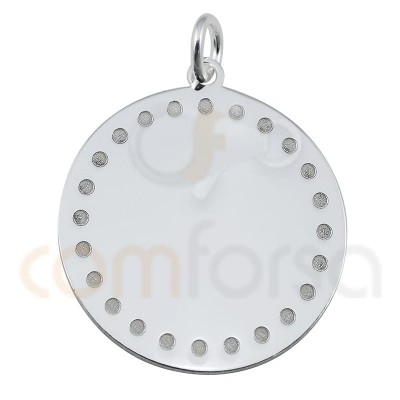 round pendant with points 20 mm in sterling silver gold plated