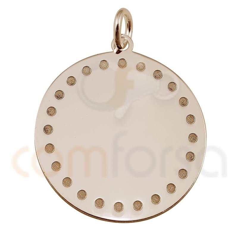 colgante chapa redonda con puntos 20mm plata chapada en oro rosa