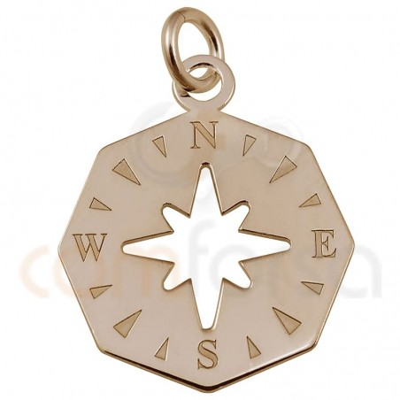 Sterling silver 925 rose gold-plated irregular compass pendant 15 mm