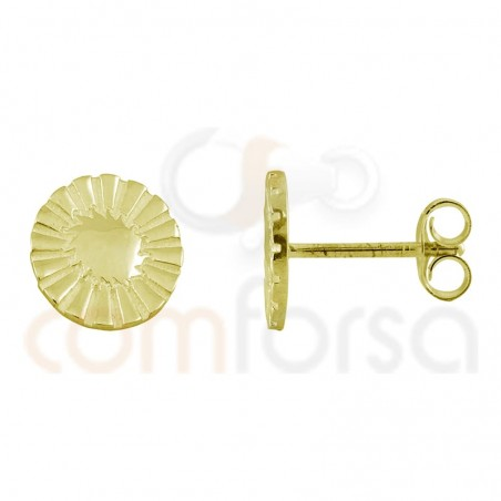 circle with sun earring 10mm sterling silver gold plated