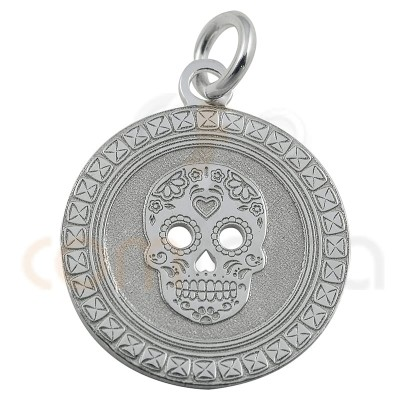 Mexican skull pendant 15 mm in stelring silver 925