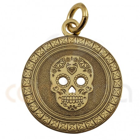Mexican skull pendant 15 mm in stelring silver gold plated