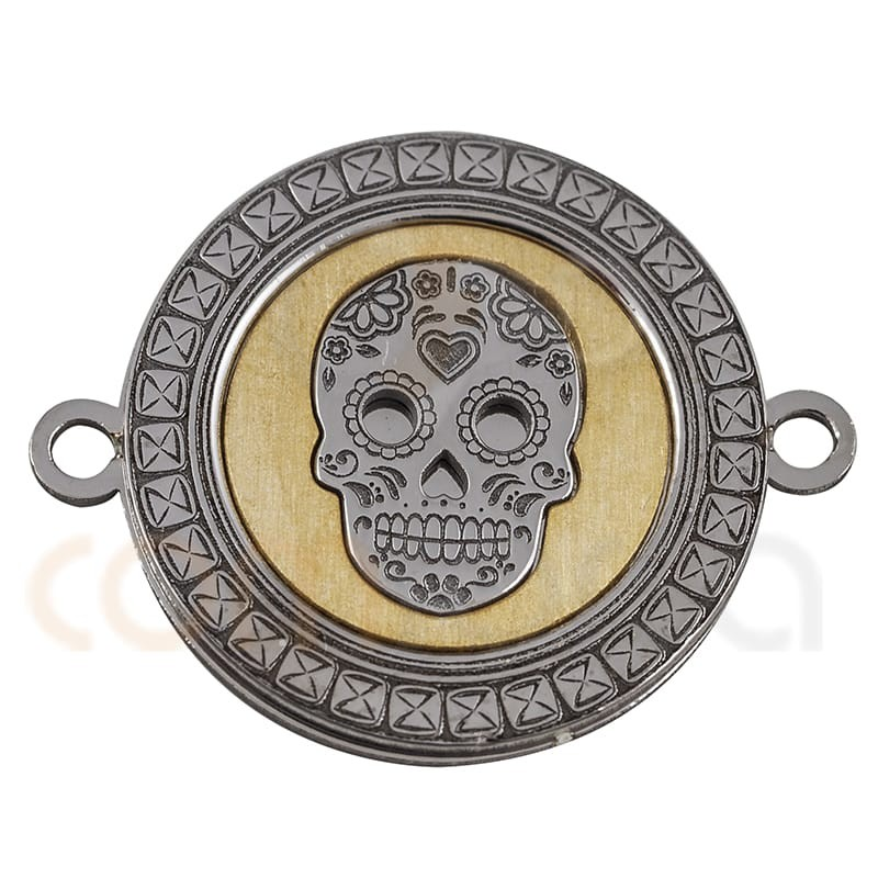 Mexican skull connector 18 mm in sterling silver