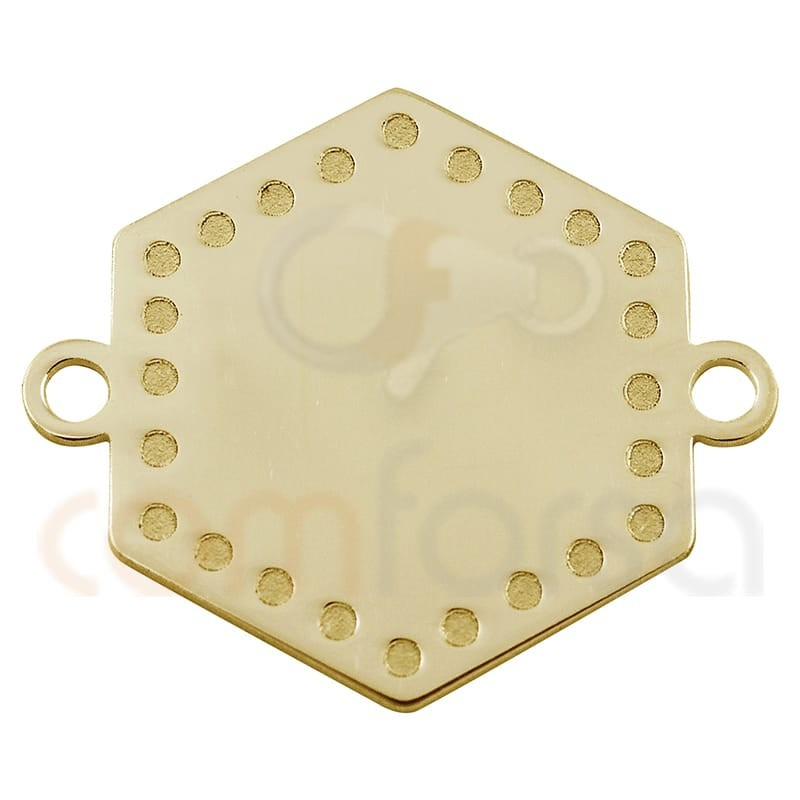 Hexagon pendant  with points 20 mm in sterling silver gold  plated