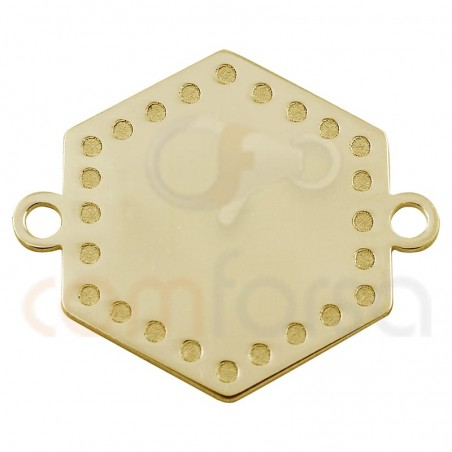 Hexagon pendant  with points 20 mm in sterling silver gold rose plated