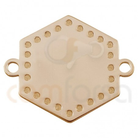 entrepieza chapa hexágono con puntos 15 mm plata chapada en oro rosa