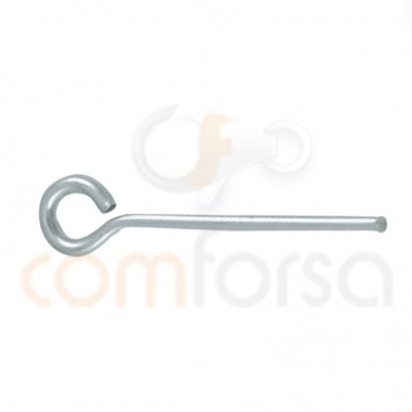 Sterling silver 925 end pin with ring 13 mm