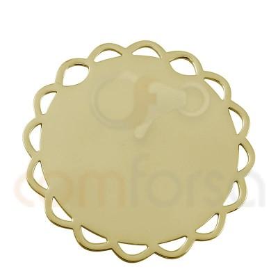 Chapa flor 15 mm plata chapada en oro