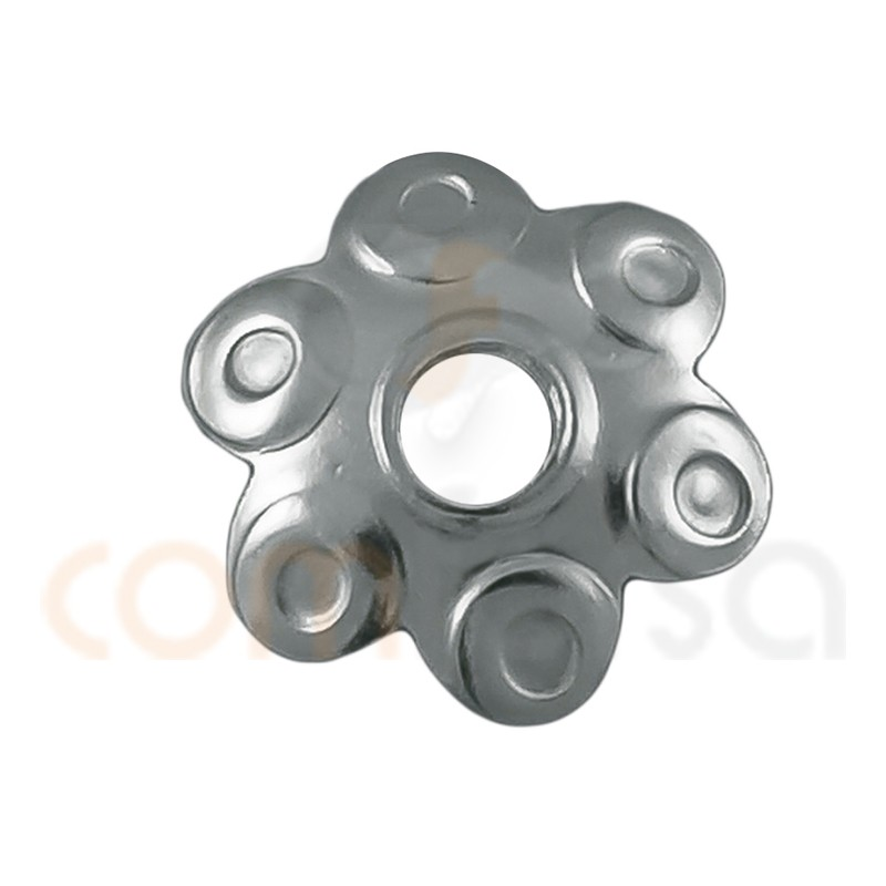 Sterling silver 925ml Sculpted cap with 6 petals 5 mm