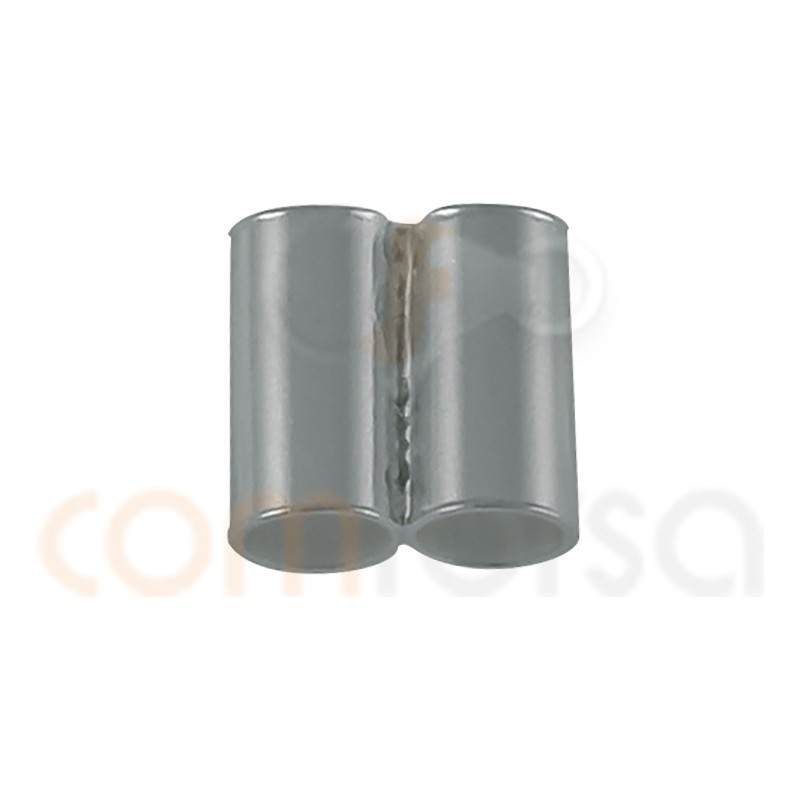 Sterling silver 925 Double tube bead 5 mm