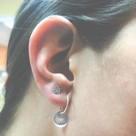 Sterling silver 925 wire hoop earring 15mm