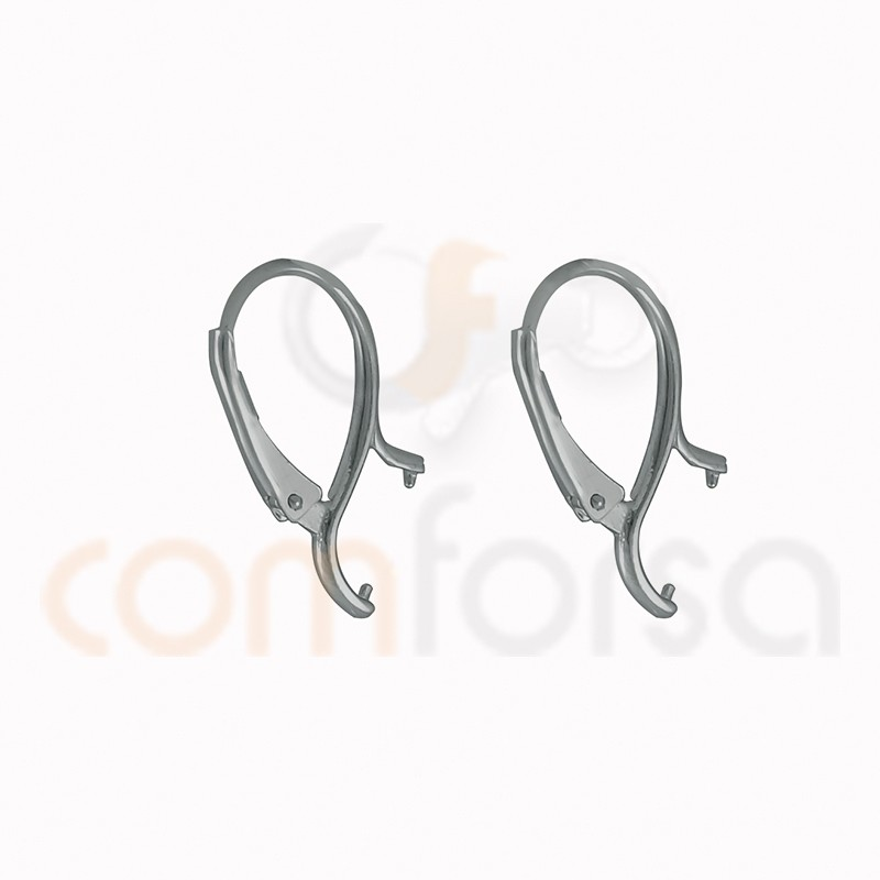 Sterling silver 925ml leverback earring with double stud 16x23 mm