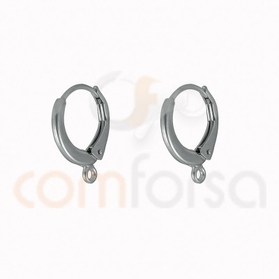 Sterling silver 925 leverback earring with jumpring 14 x 17 mm