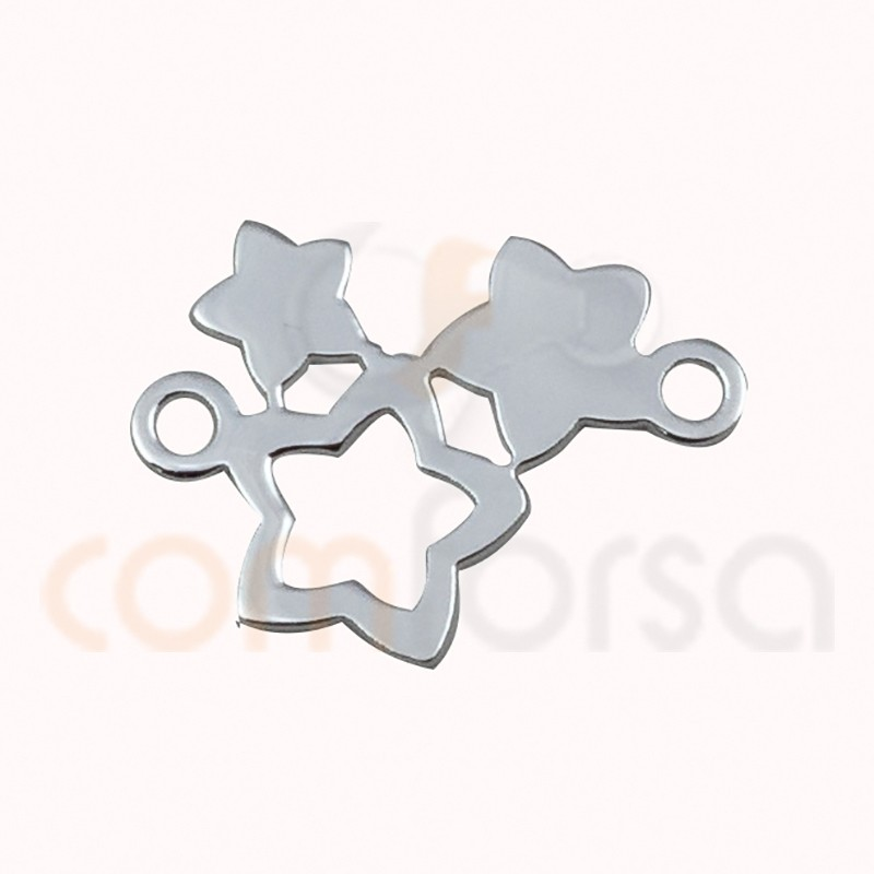 Sterling Silver 925ml hollow star connector 10x13mm