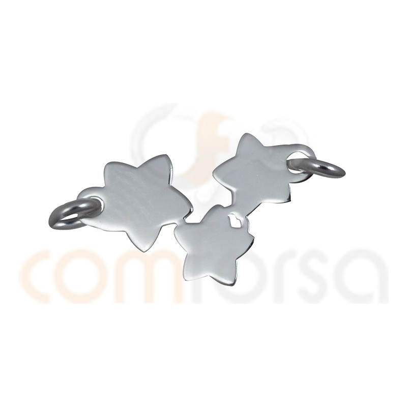 Sterling Silver 925ml 3 plain stars connector 14 x 8.5 mm