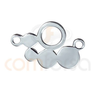 Drilled circles connector 14 x 9 sterling silver 925