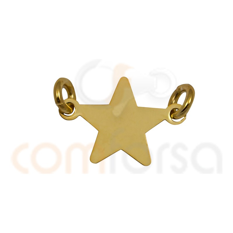 Entrepieza estrella 13 mm plata 925  chapada en oro